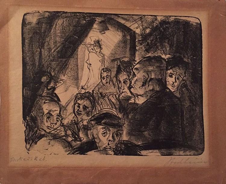 Исидор Ашейм, сцена кабаре, рисунок. 1920-е годы..jpg