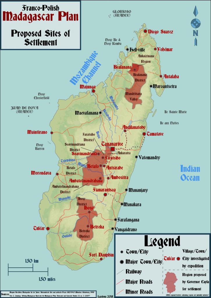 карта франко-польских предполагаемых мест для расселения европейских евреев на Мадагаскаре.png